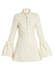 Marques Almeida Floral Brocade Bell Cuff Mini Dress Ivory