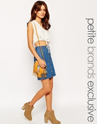 Vero Moda Petite Front Button Down Denim Skirt Blue