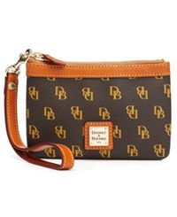 Dooney And Bourke Gretta Medium Signature Wristlet Brown Tmoro