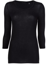 Atm Anthony Thomas Melillo 'Ballet Neck' Ribbed Top Black