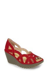 Fly London 'S Yadi Wedge Sandal Lipstick Red Mix Leather