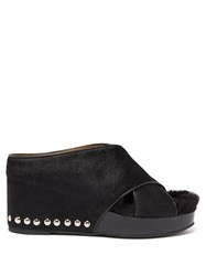 Toga Studded Shearling And Calf Hair Platform Wedges Black