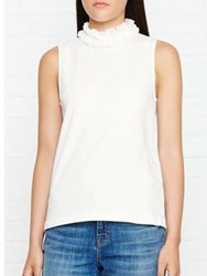 See By Chloe Ruffle Neck Sleeveless Top White