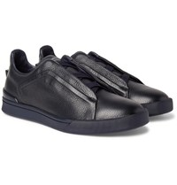 Ermenegildo Zegna Triple Stitch Full Grain Leather Slip On Sneakers Midnight Blue