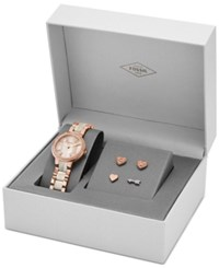 Fossil Women's Virginia Rose Gold Tone Stainless Steel And Shimmer Horn Bracelet Watch And Stud Earrings Box Set 30Mm Es3965set Shimmer Horn Mixed Metal