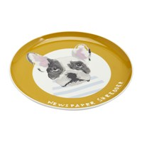 Joules Mischievous Mutts Side Plate Gold Dog