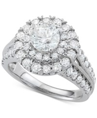 Macy's Diamond Halo Engagement Ring 2 1 2 Ct. T.W. In 14K White Gold