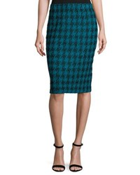 St. John Double Knit Houndstooth Pull On Skirt Blue Black