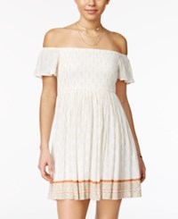 American Rag Printed Smocked Off The Shoulder Dress Only At Macy's Cream Combo