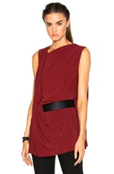 Ann Demeulemeester Belted Drape Tunic In Red