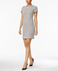 Calvin Klein Houndstooth Shift Dress Regular And Petite Sizes Black Cream