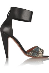 M Missoni Leather And Metallic Crochet Knit Sandals Black