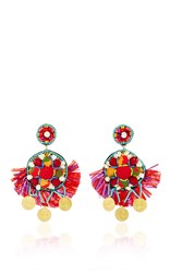 Ranjana Khan Coin Embellished Drop Earrings Red