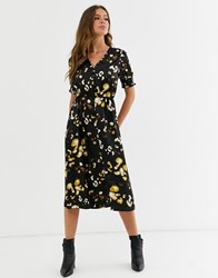 Influence Shirred Sleeve Satin Midi Dress With Button Front In Leopard Print Multi