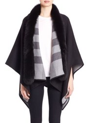 Burberry Fox Fur Trimmed Merino Wool Poncho