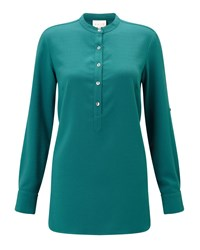East Crepe Round Neck Shirt Green