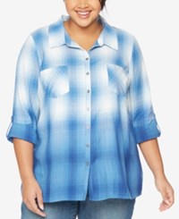 Wendy Bellissimo Maternity Plus Size Plaid Shirt Dip Dye Navy