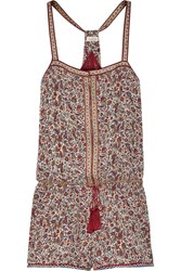 Talitha Printed Silk Georgette Playsuit Burgundy