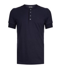 Tom Ford Henley T Shirt Male Navy