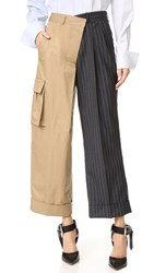 Monse Two Tone Pants Dark Khaki Dark Gray