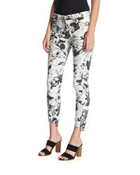 7 For All Mankind The Ankle Skinny Jeans W Step Hem Multi Pattern