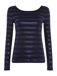 Armani Exchange Long Sleeve Round Neck Jumper In Evening Blue Blue