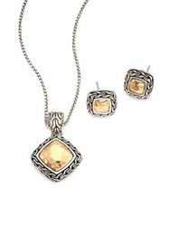 John Hardy Classic Chain Hammered 18K Yellow Gold Pendant Necklace And Stud Earring Heritage Gift Box Set Silver Gold