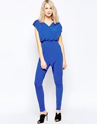 Little Mistress Wrap Front Jumpsuit Blue