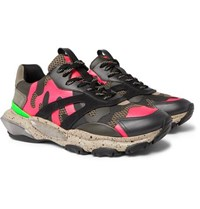 Valentino Garavani Bounce Camouflage Print Leather Mesh And Suede Sneakers Pink