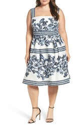Vince Camuto Plus Size Women's Print Cotton Fit And Flare Sundress