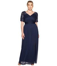 Adrianna Papell Plus Size V Neck Sequin And Stretch Tulle Gown W Elbow Sleeve Midnight Women's Dress Navy