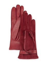Mario Portolano Leather And Suede Tassel Gloves Malva