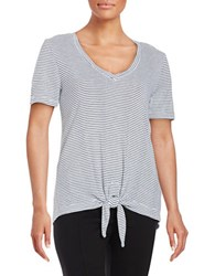 Splendid Striped Knotted Tee White