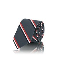 Thom Browne Striped Silk Cotton Faille Necktie Dark Gray