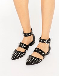 Asos Liberal Studded Pointed Ballet Flats Black