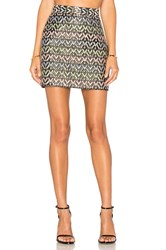 Milly Chevron Modern Mini Skirt Black