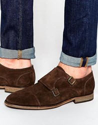 Selected Homme Bolton Suede Monk Shoes Brown Black
