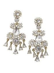 Belle By Badgley Mischka Occasion Floral Stone Chandelier Earrings Silver