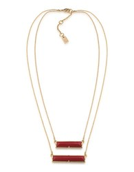 Lauren Ralph Lauren Match Point 12K Gold Plated Red Two Row Rectangle Pendant Necklace Coral