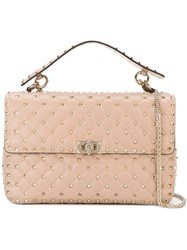 Valentino 'Rockstud' Quilted Tote Nude And Neutrals