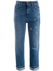 Max Mara Weekend Star Print Cropped Denim Jeans Blue