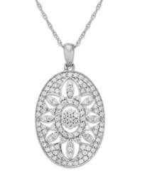 Wrapped In Love Diamond Antique Pendant Necklace In 14K White Gold 1 Ct. T.W.
