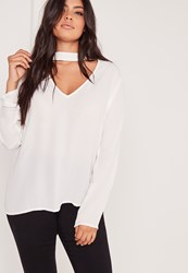 Missguided Plus Size Choker Blouse White White