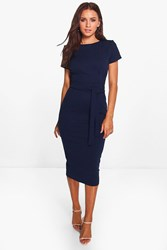 Boohoo Pleat Front Belted Tailored Midi Dress Navy