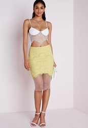 Missguided Scalloped Edge Lace And Mesh Midi Skirt Lime Green