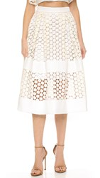 Nicholas Geo Lace Paneled Ball Skirt White