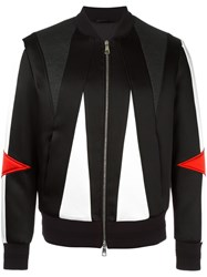 Neil Barrett Geometric Panelled Bomber Jacket Black