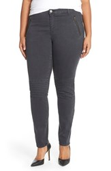 Plus Size Women's Junarose 'Bintha' Moto Stretch Twill Skinny Pants