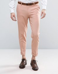 Asos Skinny Cropped Trouser In Pink Evening Sand