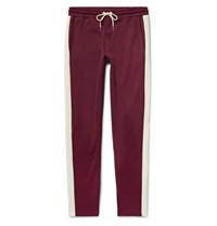Moncler Slim Fit Striped Jersey Sweatpants Burgundy